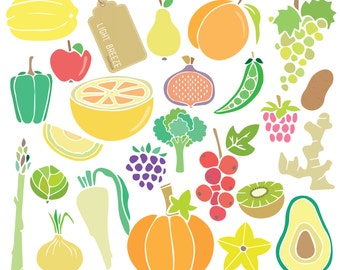 Fruits & Vegetables Digital Clipart Set Part2  - Instant Download - Personal and Commercial Use