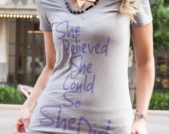 She Believed V-Neck Tee - Gray and Purple