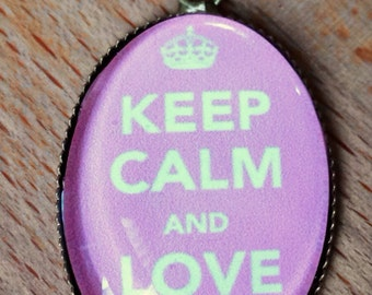 Antique brass 'Keep Calm and Love Me' necklace