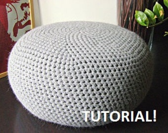 Crochet Bean Bag Tutorial : DIY Tutorial XL Large Crochet Pouf Poof, Ottoman ...