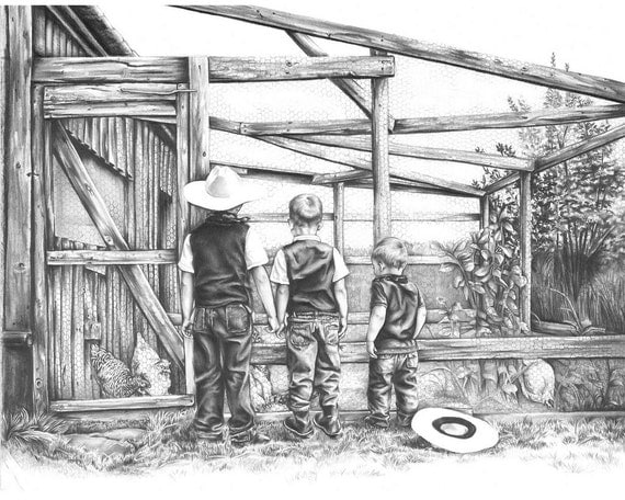 Boy Cowboys by The Chicken Coop Art Print from Original Pencil Drawing