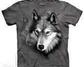 woman's or men's t-shirt, wolf portrait multicolored,stonewashed, size xl 100% preshrunk cotton