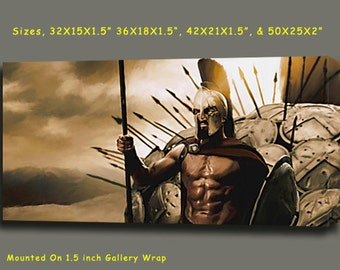"""300 Spartans Movie Canvas Giclee, Acrylic Art W Gallery Wrap Ready To Hang Up To Size 42X20X1.5"""""""