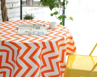 Orange Chevron Cotton Table Runner Tablecloth   Chevron ZigZag Prints    Choose A Size Or Custom