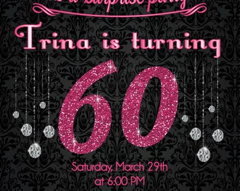 Pink Glitter 60th Birthday Invitation - Adult Birthday Party Invitation - DIY or Printed Invite