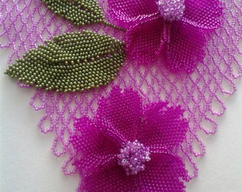 Pearl necklace bib - necklace bib 2 Flowers - necklace Flowers