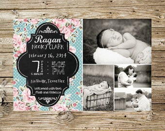 Shabby Chic Baby Girl photo birth announcement