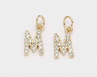 M - Alphabet, Initial, Letter Cubic Pendant Polished Gold -Plated - 1 Pieces [P0238-PG]