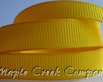 "5 yards Yellow Grosgrain Ribbon, 4 Widths Available: 1 1/2"", 7/8"", 5/8"", 3/8"""