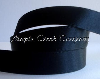 "5 yards of Black Satin Single Face Ribbon, 2 Widths Available: 5/8"" or 3/8"""