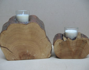 2 smaller cypress slab candle holders.