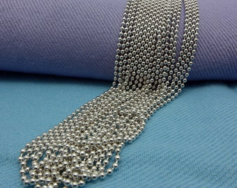 925 2m/m Sterling Silver Ball Bead Chain Necklace,Rhodium Plating,wholesale