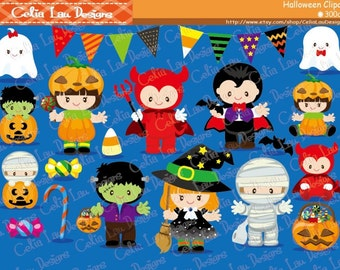 HALLOWEEN Clipart, Cute Halloween Baby Digital Clipart, Kawaii Halloween(CG079)