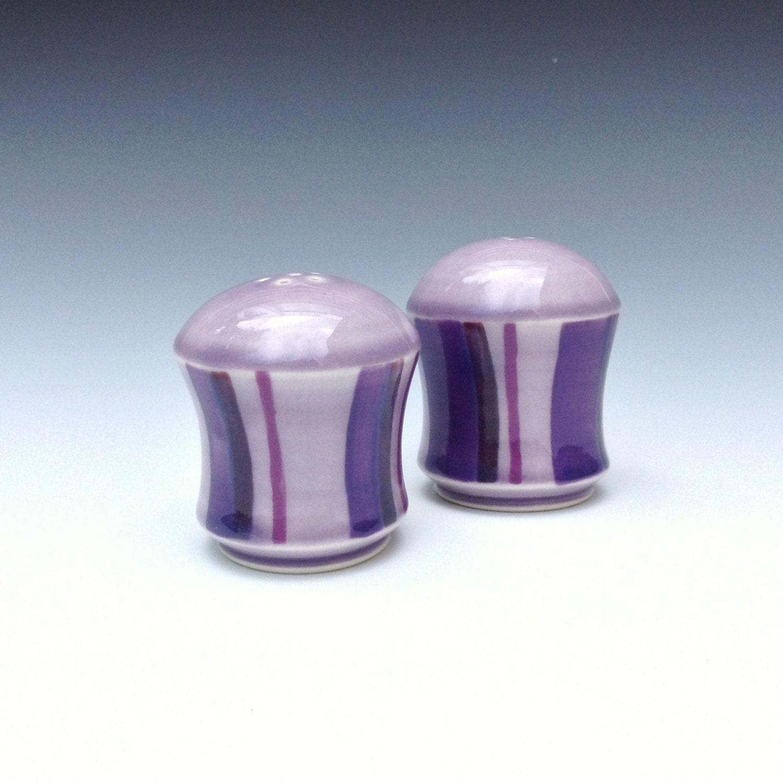 Purple Salt And Pepper Shakers Porcelain Salt And Pepper Set