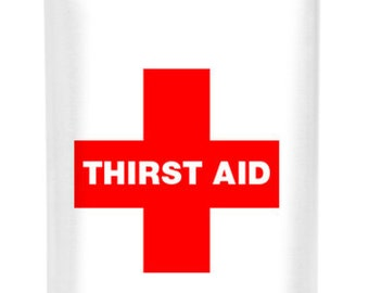 10 Matte Stainless Steel 8 oz Flask vinyl wrapped thirst aid