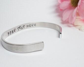 Secret Message Bracelet Cuff - Personalized Bracelet - Custom Cuff - Handstamped Cuff - Girlfriend Gift - Aluminum Cuff-Adjustable Cuff