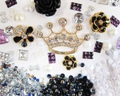 X2- DIY 3D Bling Cell Phone Case Deco Kit: Black Rose Daisy Rhinestone Crown and Rhinestone Gem Cabochons