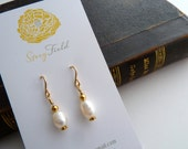 Fresh water pearl dangle earrings - nickel free - hypoallergenic - 14K gold filled wire -  bridal -  minimal - gift for her - dainty