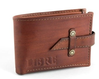 Leather Wallet with strap closing
