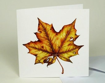 Autumn Maple Leaf, Fall luxury Greeting Card