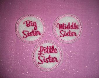 Set of 4 Big Middle Little Lil Sister Sisters Sis Feltie Felt Embellishment Bow! Felties Applique Party