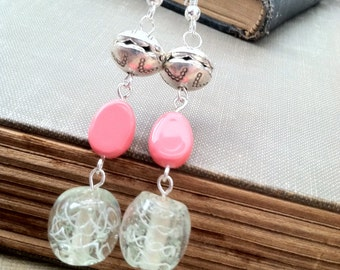 Sterling Silver Ear Wire, pewter and Glass beaded Earrings