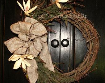 The Magnolia Grapevine Wreath, Magnolia Wreath, Front Door Wreath, Primitive Wreath