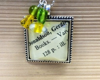 Library Card Catalog Dewey Decimal Reading Books Necklace for Teacher Student Librarian Book Lover
