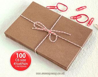 "Kraft Envelopes, 100pk, C6 Brown Ribbed Envelopes, 4 1/2 x6 3/8"" Envelopes, Kraft Paper Envelopes C6 -  PSS018"