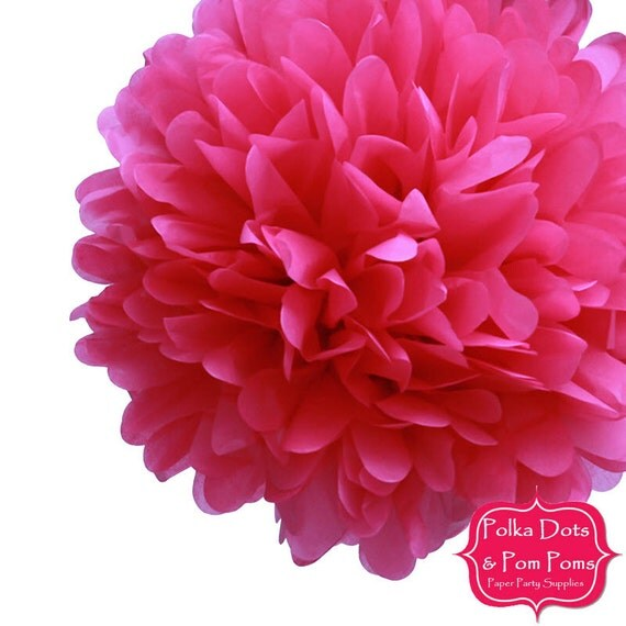 1 x 20cm hot pink cerise tissue paper pom pom pompom paper il570xn mightylinksfo