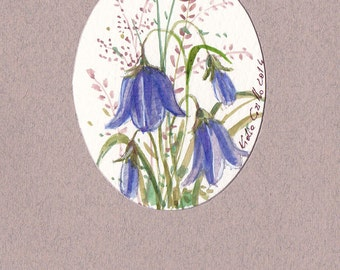 Bluebell flower small watercolor painting art. Naturalist primitive vintage style water color hand painted. Original artwork purple flowers