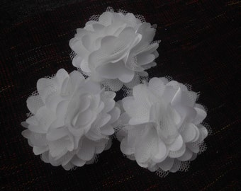 White  Lace Flower, Satin flower,Shredded Lace Flower, 2 inch,Wholesale Supply Flowers for Headband and other DIY