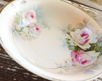 Vintage Bavarian P.S.A.G. Handpainted Serving Bowl with Roses