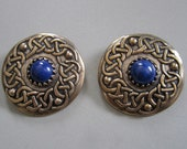 Lapis Celtic Knotwork Brooches in Bronze
