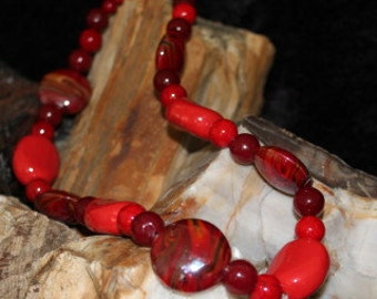 Red porcelain and riverstone necklace.