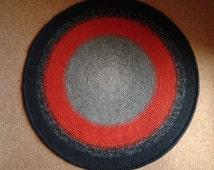 Crochet round rug, 48'' (122 cm)/Crochet Rug/Rugs/Rug/Area Rugs/Floor Rugs/Large Rugs/Handmade Rug/Carpet/Wool Rug
