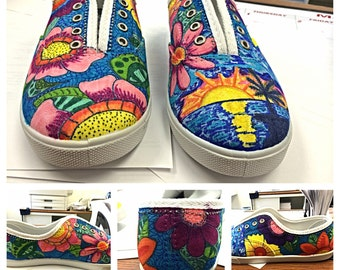 Tropical Flowers/Flamingos shoes for summer!