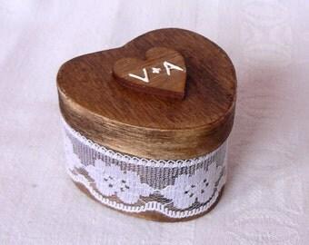 Wedding Ring Box, Engagement Ring Holder, Wood Ring Box, Ring Bearer Box, Lace Ring Box