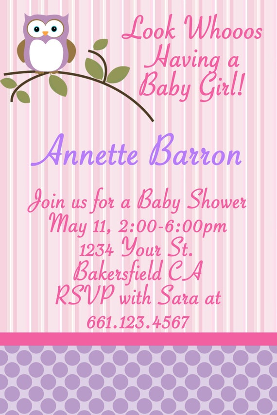 to baby girl owl inspired theme baby shower invitations on etsy