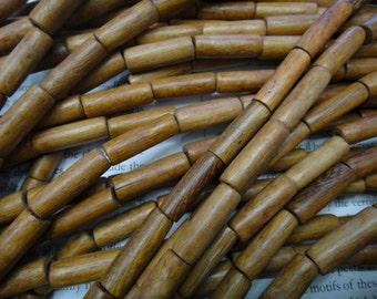 6x20mm natural wood tube beads, 20pcs.