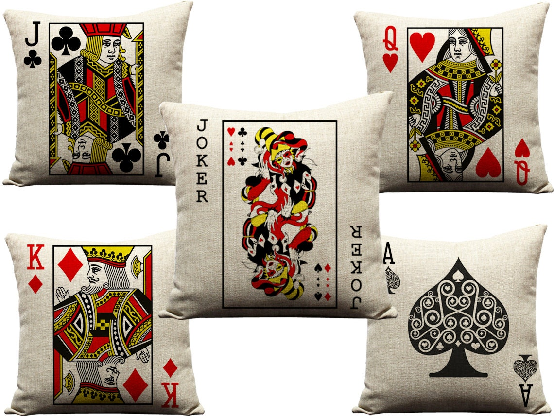 Face Cards Hearts Set of 5 Face Card Pillows