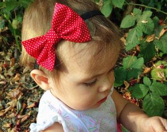 Red dot bow headband
