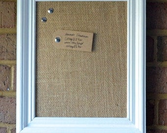 Frame with corkboard and burlap
