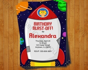 Rocketship Party Invitation - printable birthday invite for a Outer Space Birthday Party