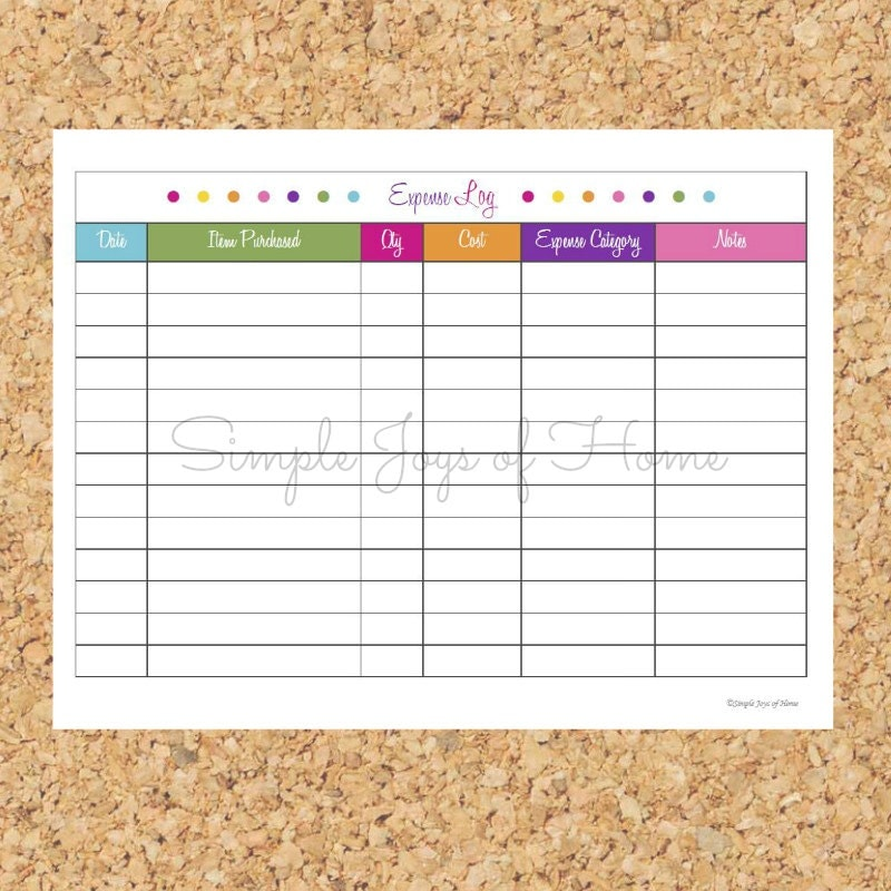 It is a graphic of Luscious Printable Expense Log