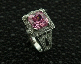 Ladies,new,design,925,sterling,silver,ring,hand,set,stones,pink, square, and,white,round ,cut,cz ,rhodium,plated,plus,  jewelry,gift ,box.,