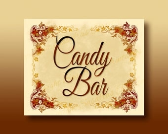 Candy Bar - Autumn / Halloween Wedding Sign - DIY Download and Print - Printable File - Autumn Leaves Design