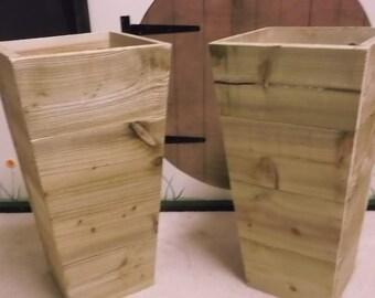 Large wooden garden pots