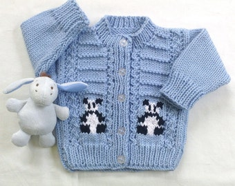 Panda baby cardigan - 0 to 6 months - Knit baby clothes - Baby shower gift - Knit panda sweater