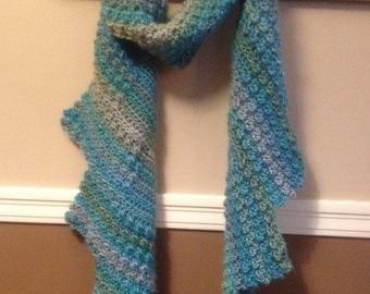 Lisa: winged crochet scarf, women's scarf, striped scarf, colorful scarf